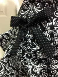 black and white damask print apron