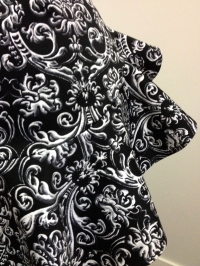 black and white damask apron